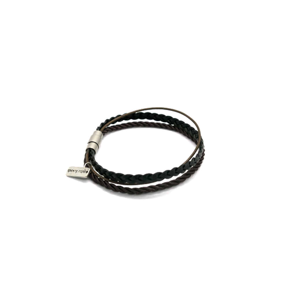 rope layered men bracelet (brown)