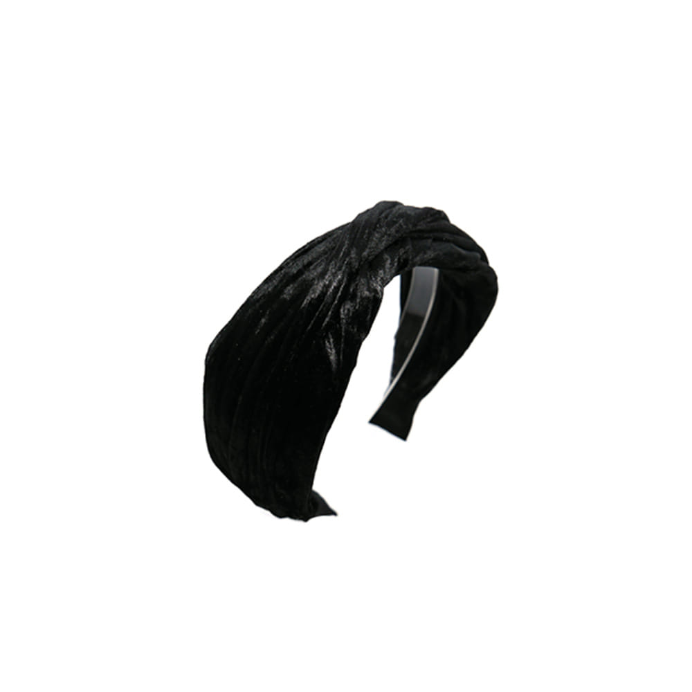 velvet pleats hairband (black)