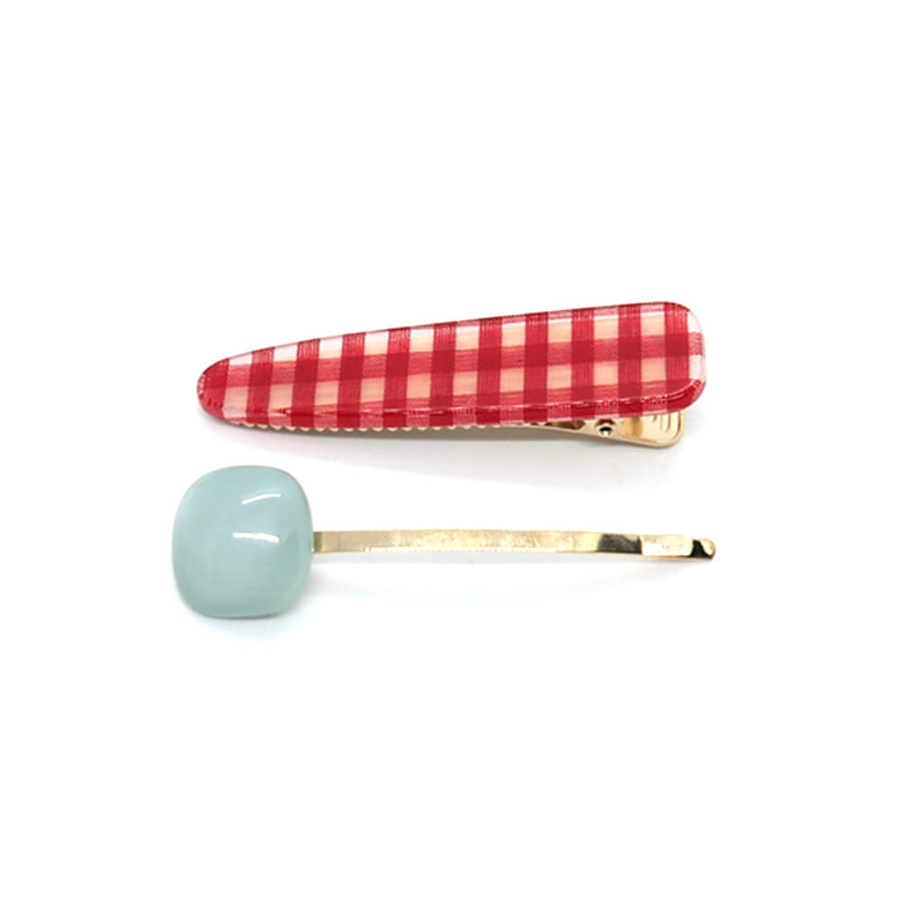 gingham check hairpin  set (red)