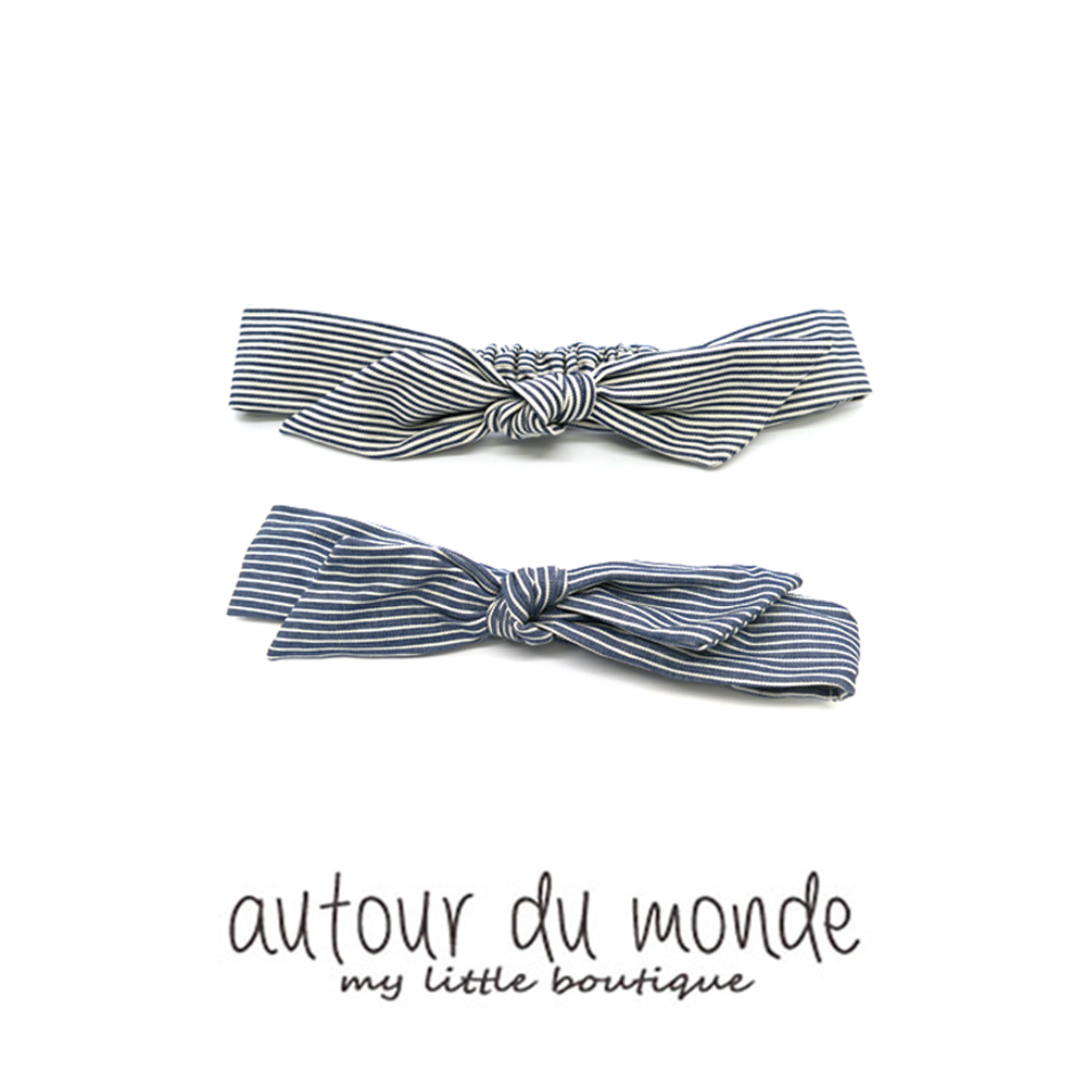denim stripe turban hairband (2colors)