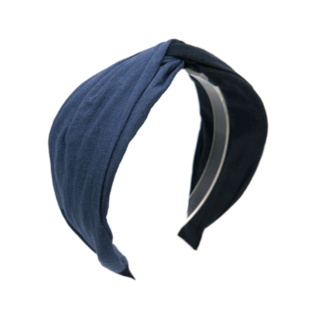 linen two tone hairband (navy)