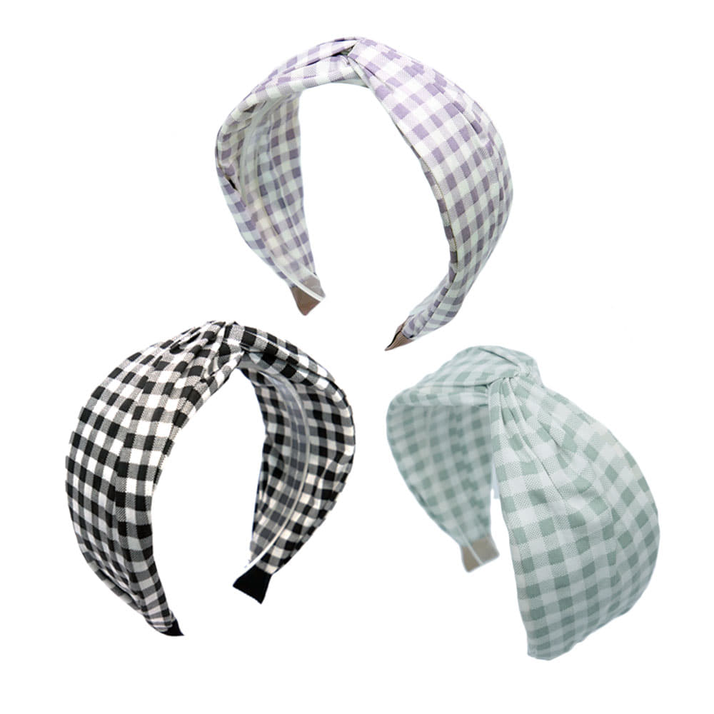 gingham check hairband (3colors)