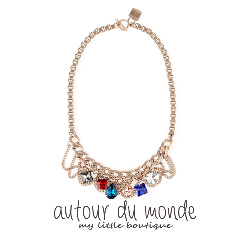 color cubic necklace (gold)
