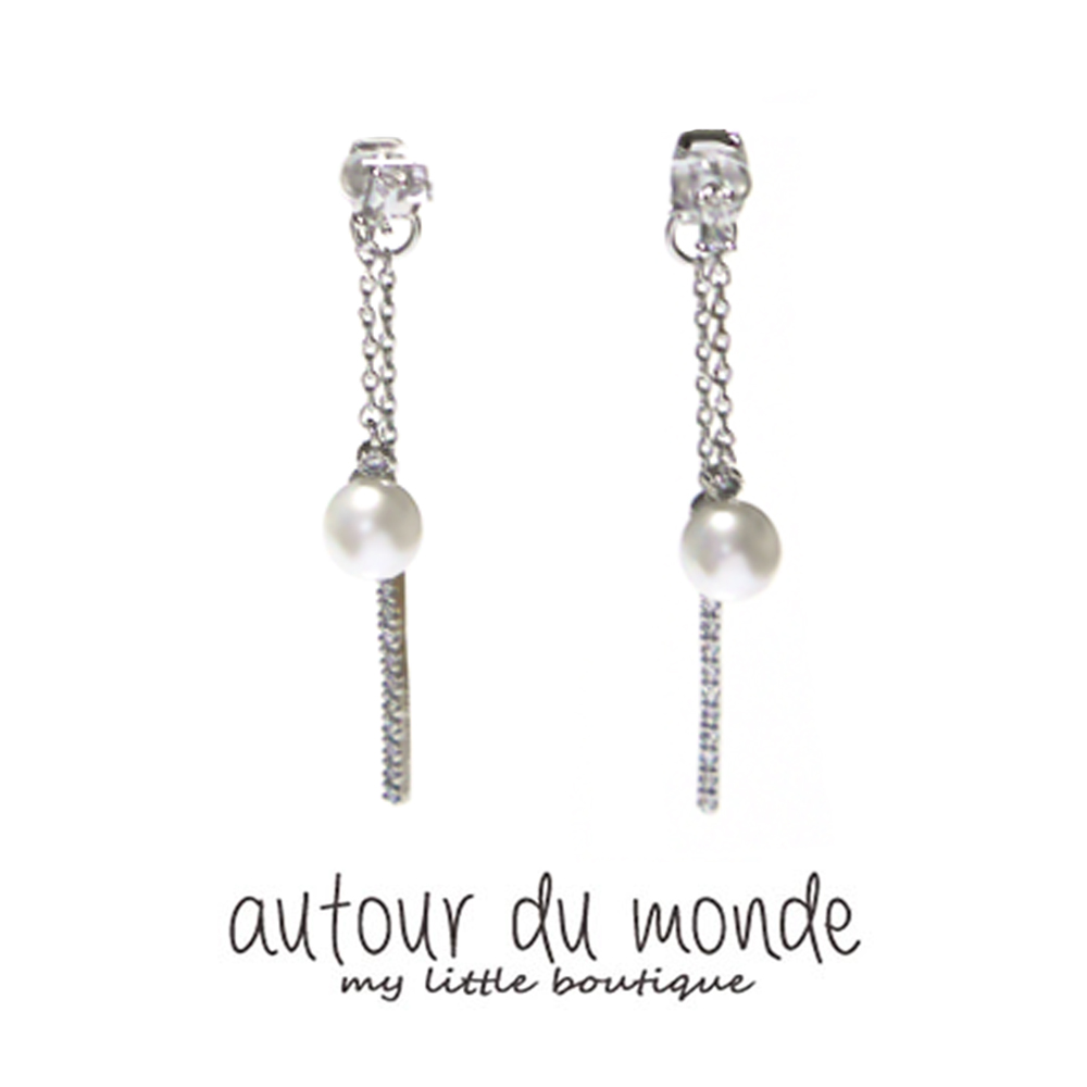 romantic pearl chain earring  (silver)