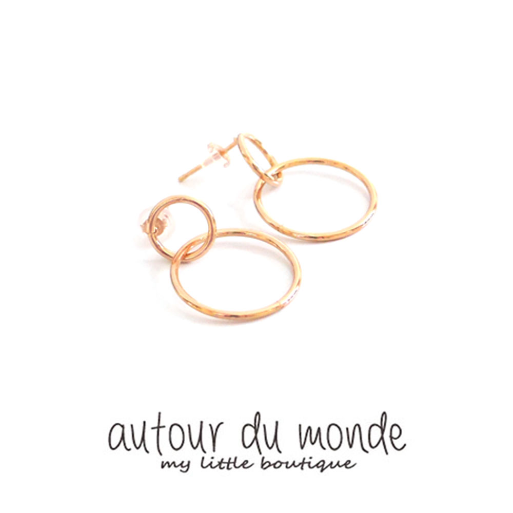 double ring earring (rose gold)