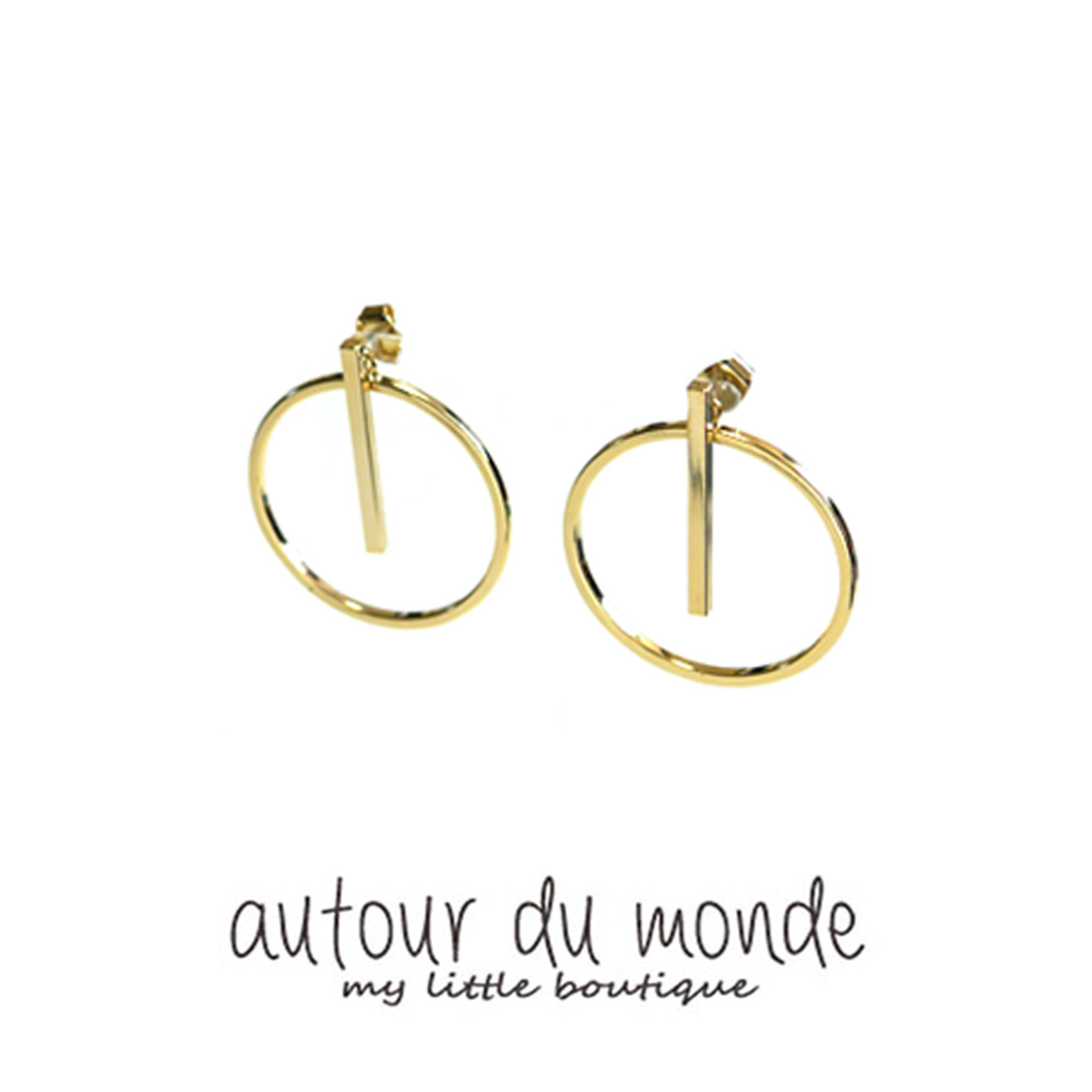 round bar earring (gold)