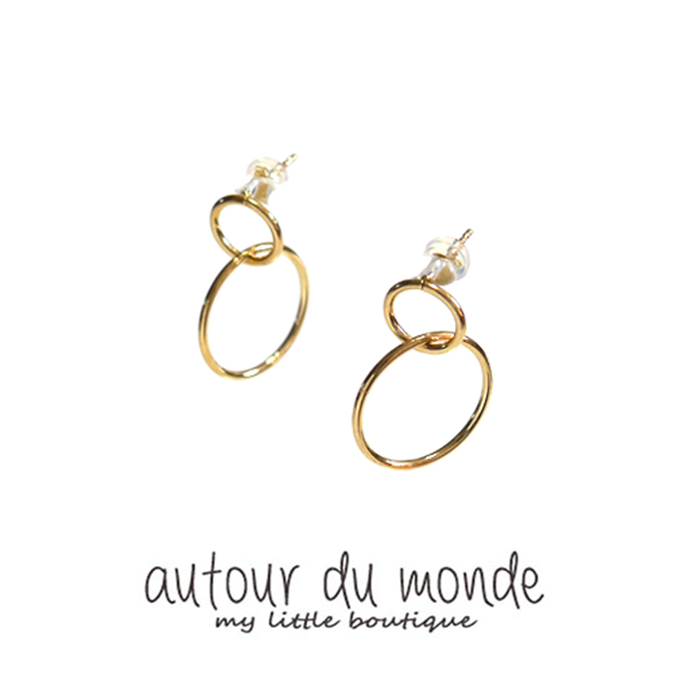double ring earring (gold)
