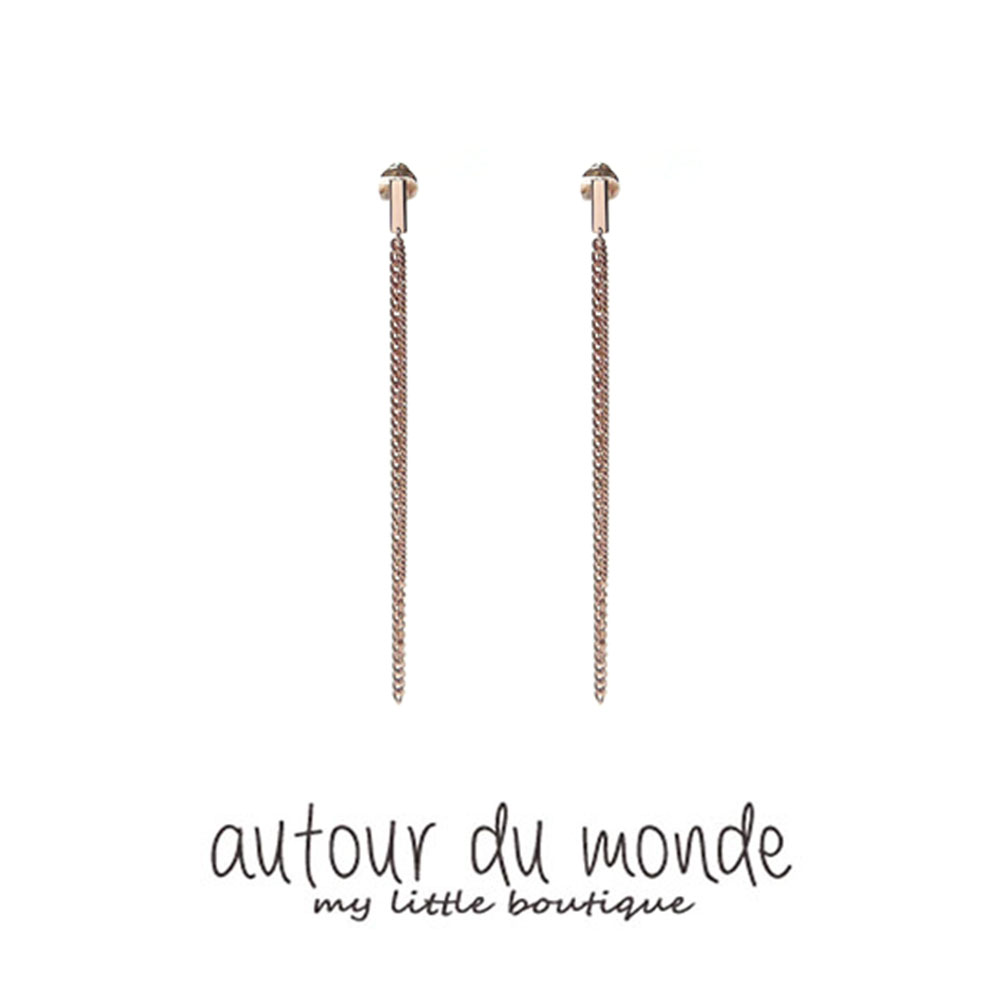 rectangle triple earring (rose gold)