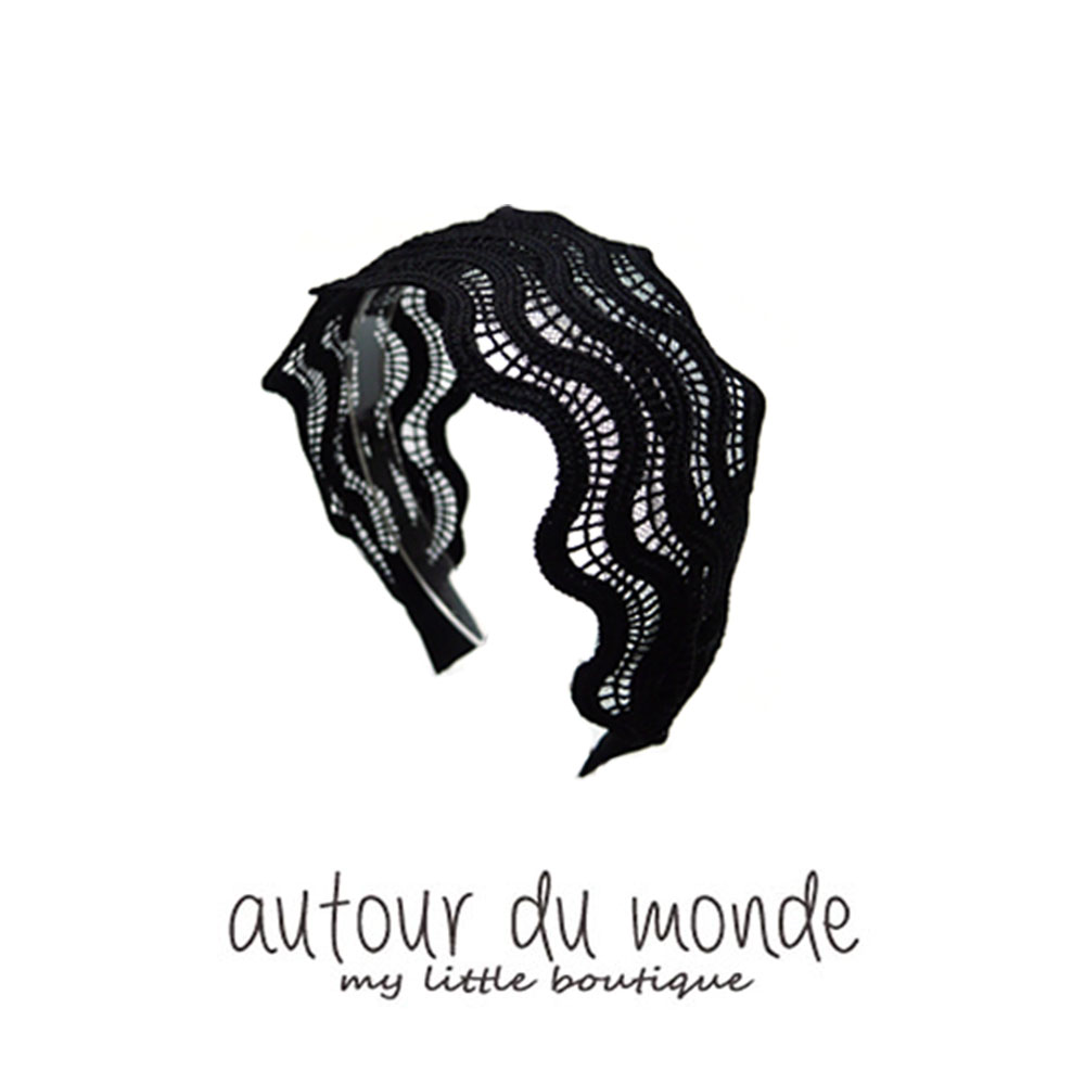 wave lace hair band (black)