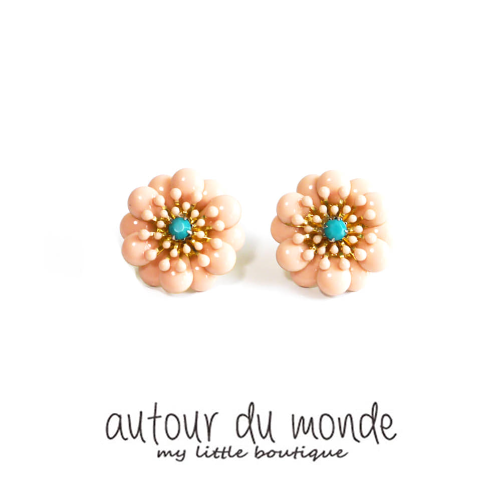 bright flower earring (pink)