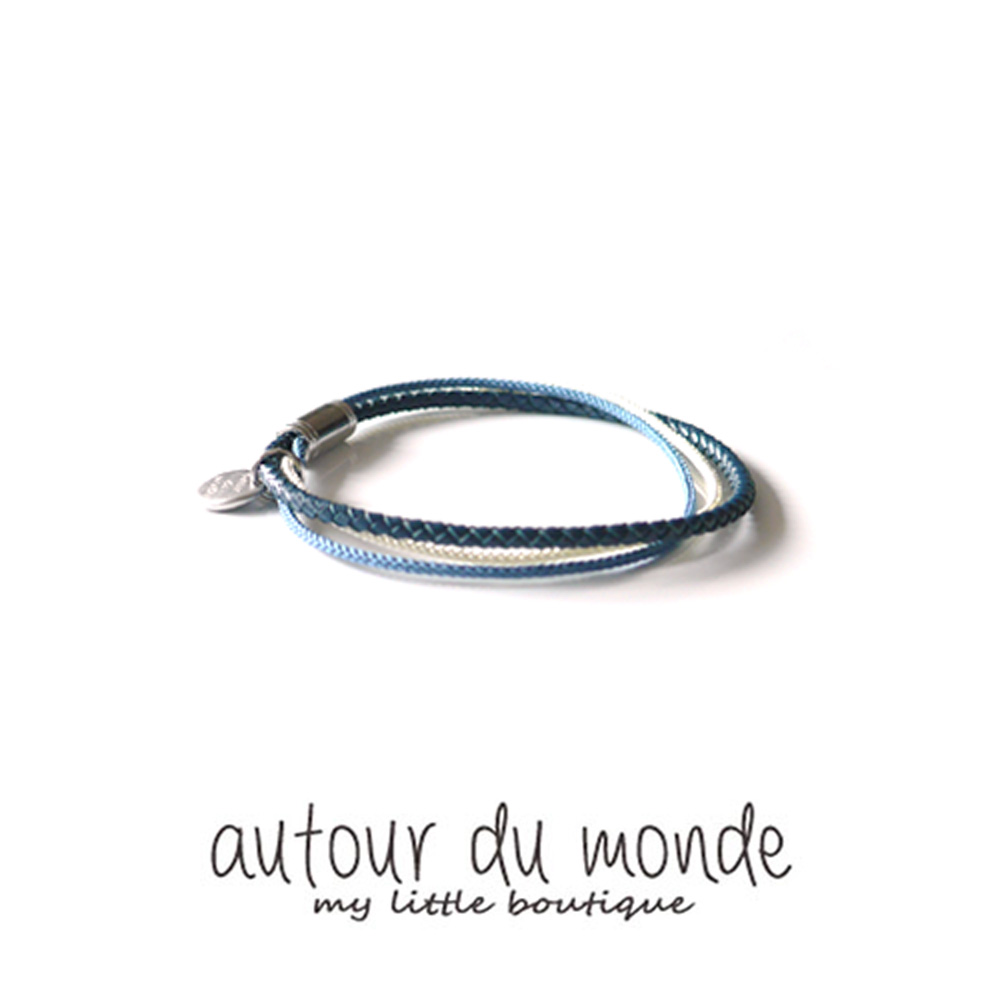 thin string men bracelet (blue)